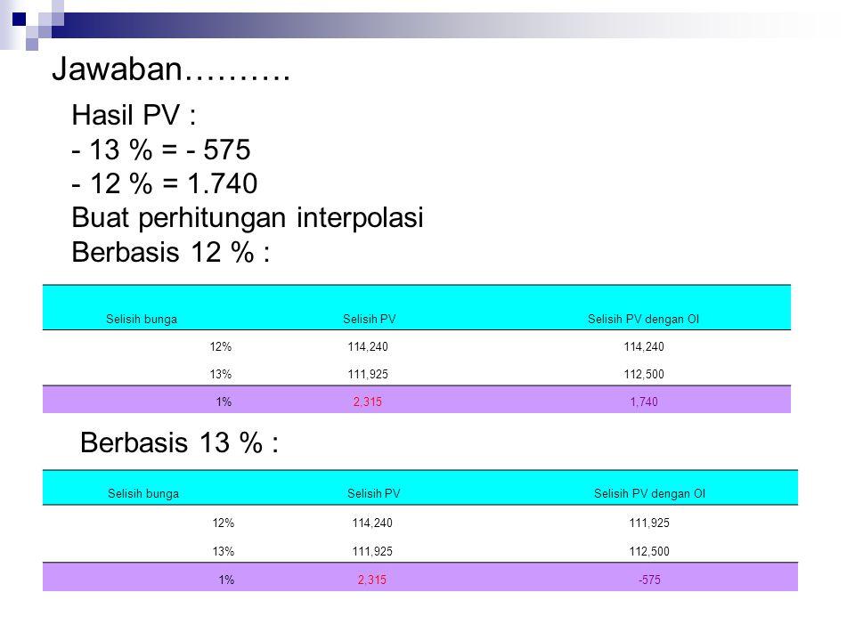 Jawaban………. Hasil PV : - 13 % = - 575 12 % = 1.740