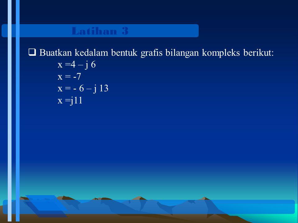 Latihan 3 Buatkan kedalam bentuk grafis bilangan kompleks berikut: