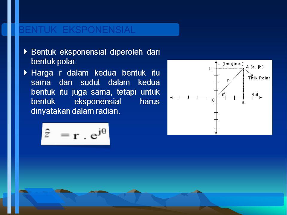 BENTUK EKSPONENSIAL Bentuk eksponensial diperoleh dari bentuk polar.