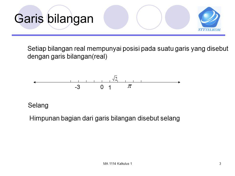 Garis bilangan Setiap bilangan real mempunyai posisi pada suatu garis yang disebut. dengan garis bilangan(real)