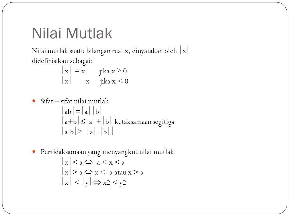 Nilai Mutlak Nilai mutlak suatu bilangan real x, dinyatakan oleh x