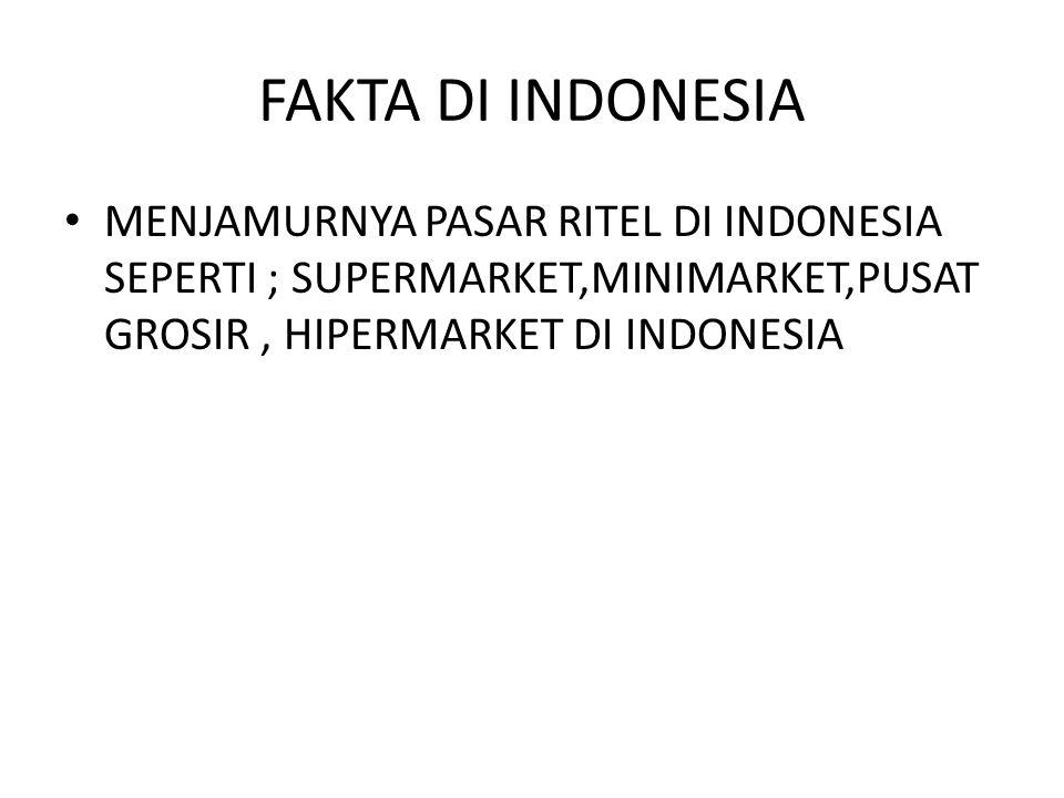 FAKTA DI INDONESIA MENJAMURNYA PASAR RITEL DI INDONESIA SEPERTI ; SUPERMARKET,MINIMARKET,PUSAT GROSIR , HIPERMARKET DI INDONESIA.