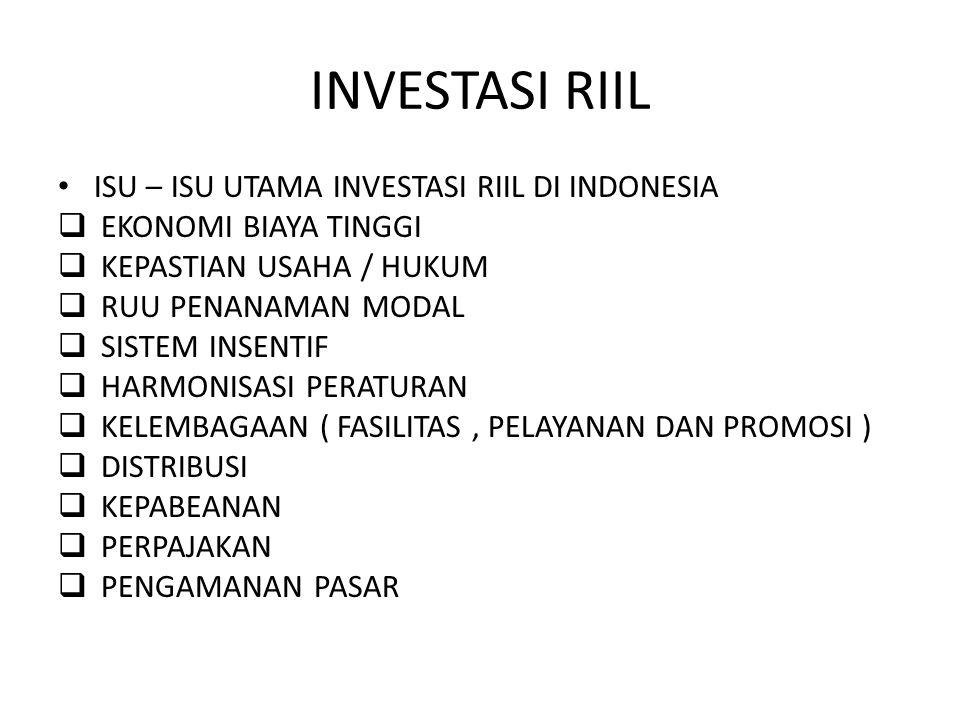 INVESTASI RIIL ISU – ISU UTAMA INVESTASI RIIL DI INDONESIA