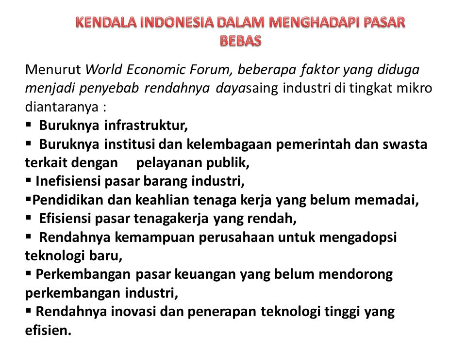 KENDALA INDONESIA DALAM MENGHADAPI PASAR BEBAS