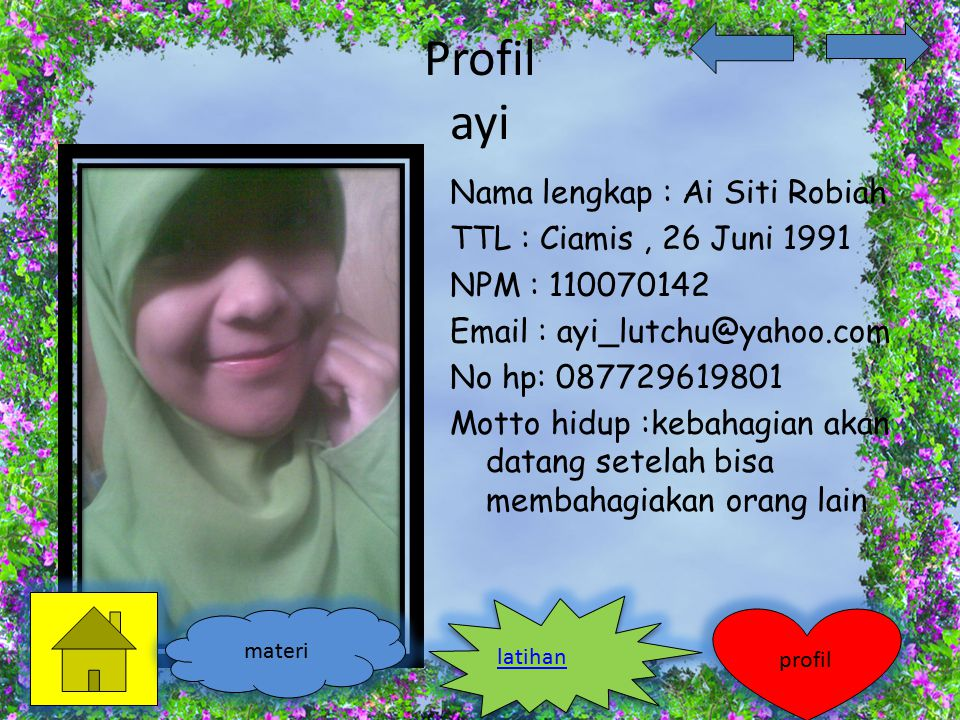 Profil ayi Nama lengkap : Ai Siti Robiah TTL : Ciamis , 26 Juni 1991