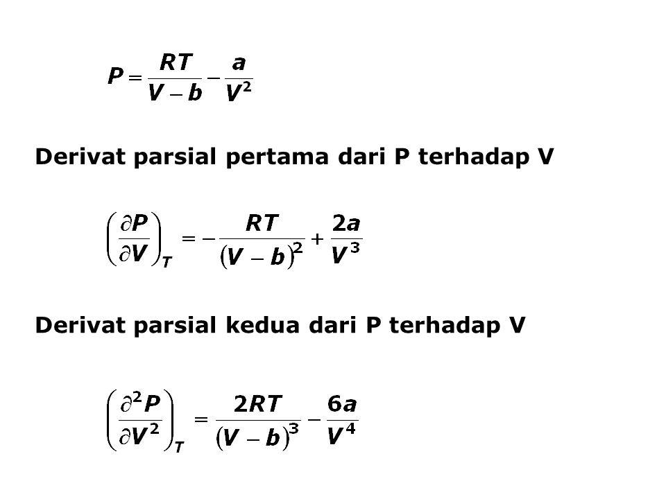 Derivat parsial pertama dari P terhadap V