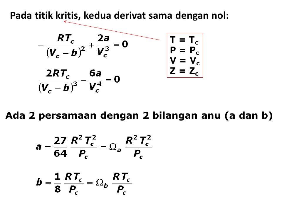 Pada titik kritis, kedua derivat sama dengan nol: