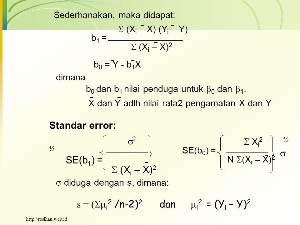 s = (i2 /n-2)2 dan i2 = (Yi – Y)2