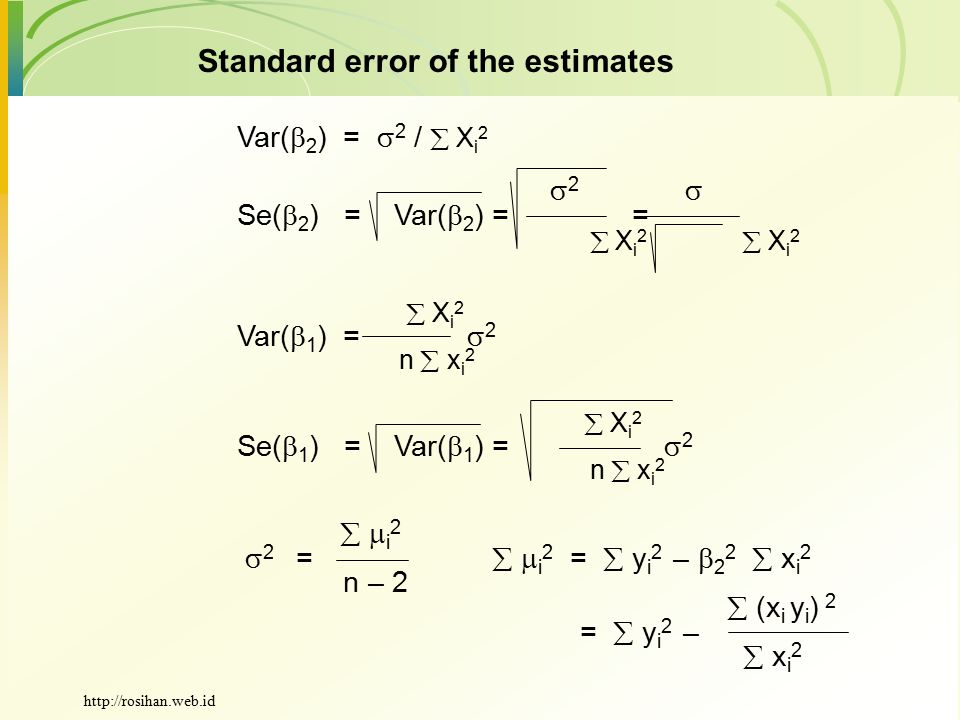 Standard error of the estimates