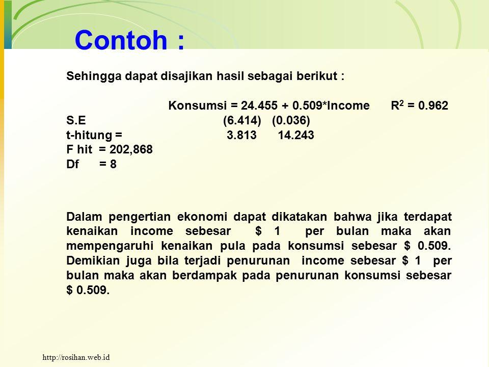 Contoh : Sehingga dapat disajikan hasil sebagai berikut :