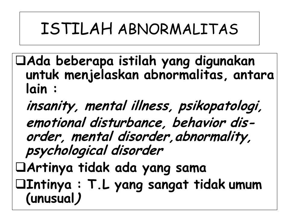 ISTILAH ABNORMALITAS Ada beberapa istilah yang digunakan untuk menjelaskan abnormalitas, antara lain :