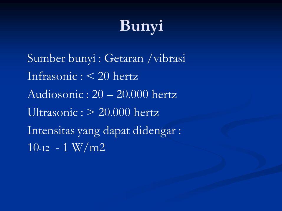 Bunyi Sumber bunyi : Getaran /vibrasi Infrasonic : < 20 hertz