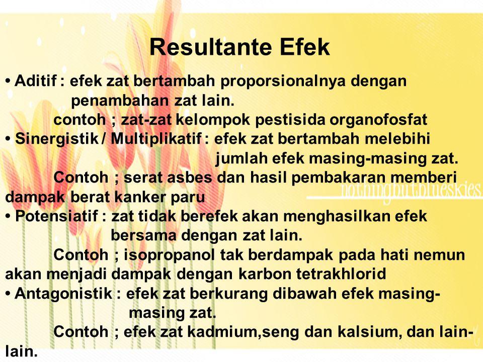 Resultante Efek • Aditif : efek zat bertambah proporsionalnya dengan