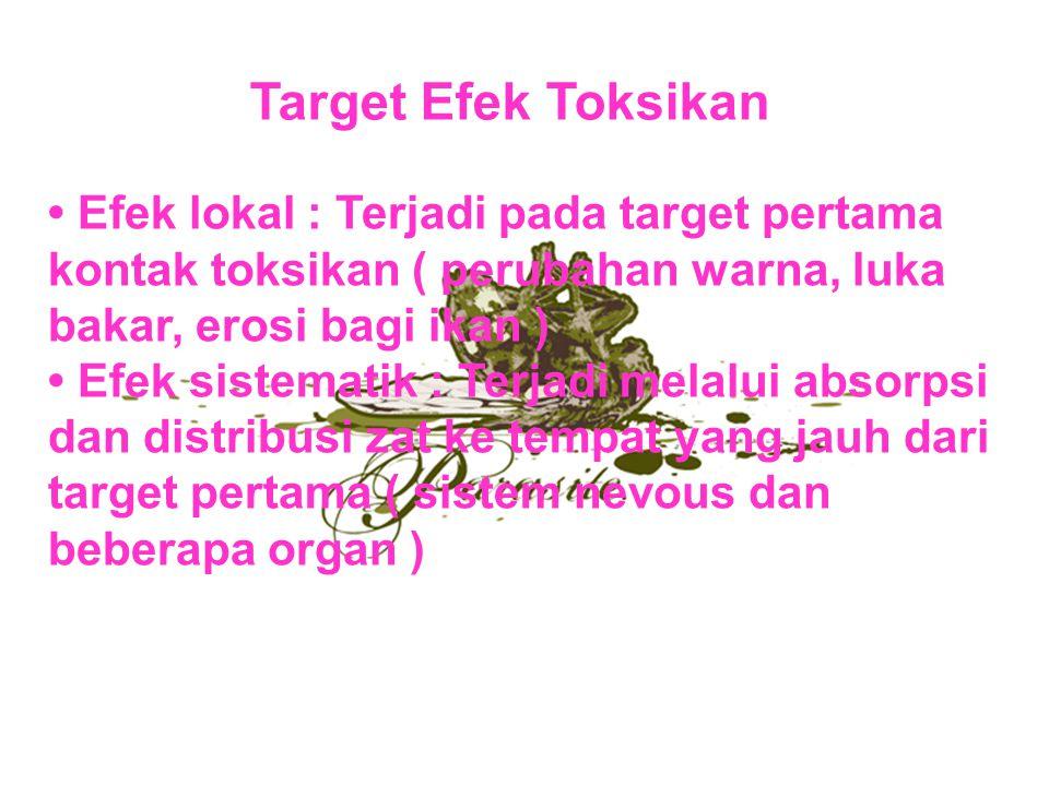 Target Efek Toksikan • Efek lokal : Terjadi pada target pertama kontak toksikan ( perubahan warna, luka bakar, erosi bagi ikan )