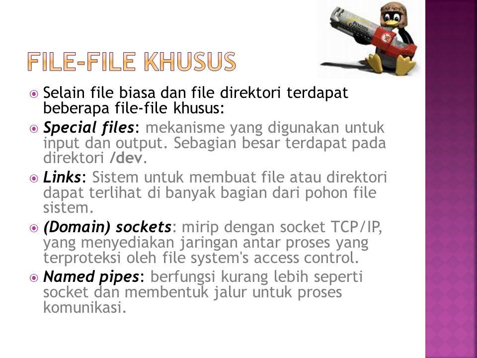 File-File khusus Selain file biasa dan file direktori terdapat beberapa file-file khusus: