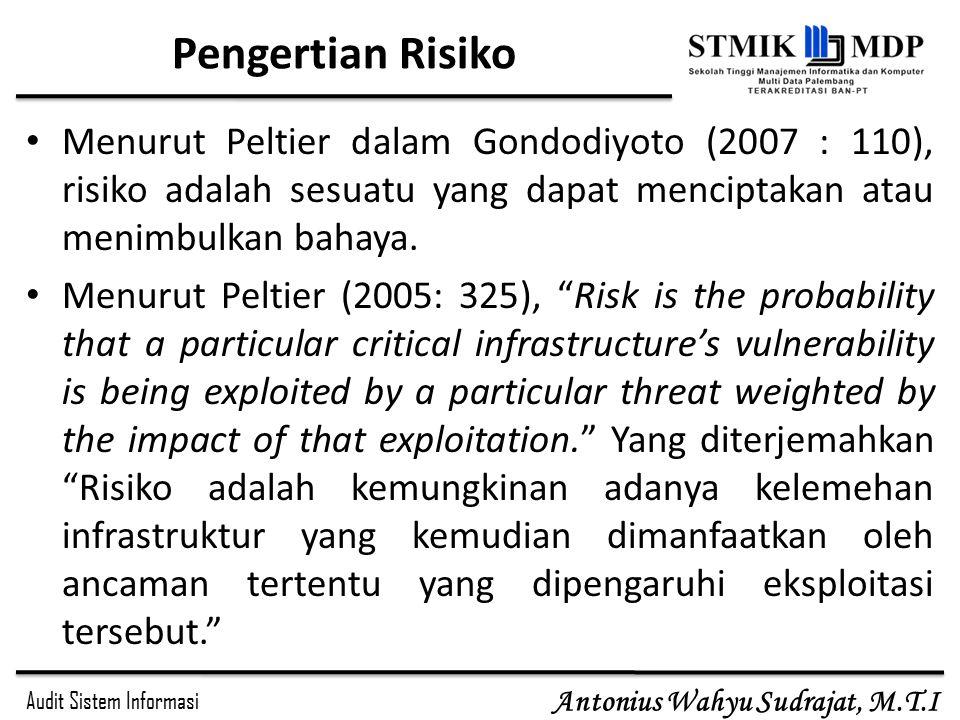 Pengertian Risiko Menurut Peltier dalam Gondodiyoto (2007 : 110), risiko adalah sesuatu yang dapat menciptakan atau menimbulkan bahaya.