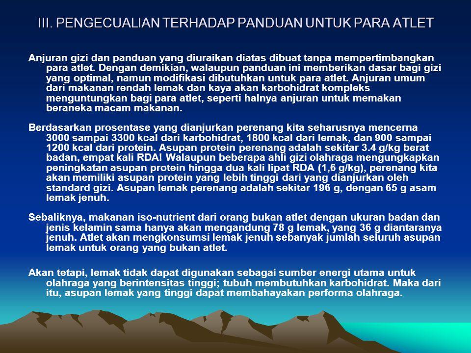 III. PENGECUALIAN TERHADAP PANDUAN UNTUK PARA ATLET