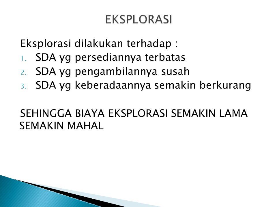 EKSPLORASI Eksplorasi dilakukan terhadap :
