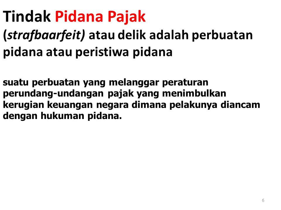 Tindak Pidana Pajak (strafbaarfeit) atau delik adalah perbuatan pidana atau peristiwa pidana