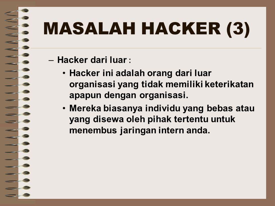 MASALAH HACKER (3) Hacker dari luar :