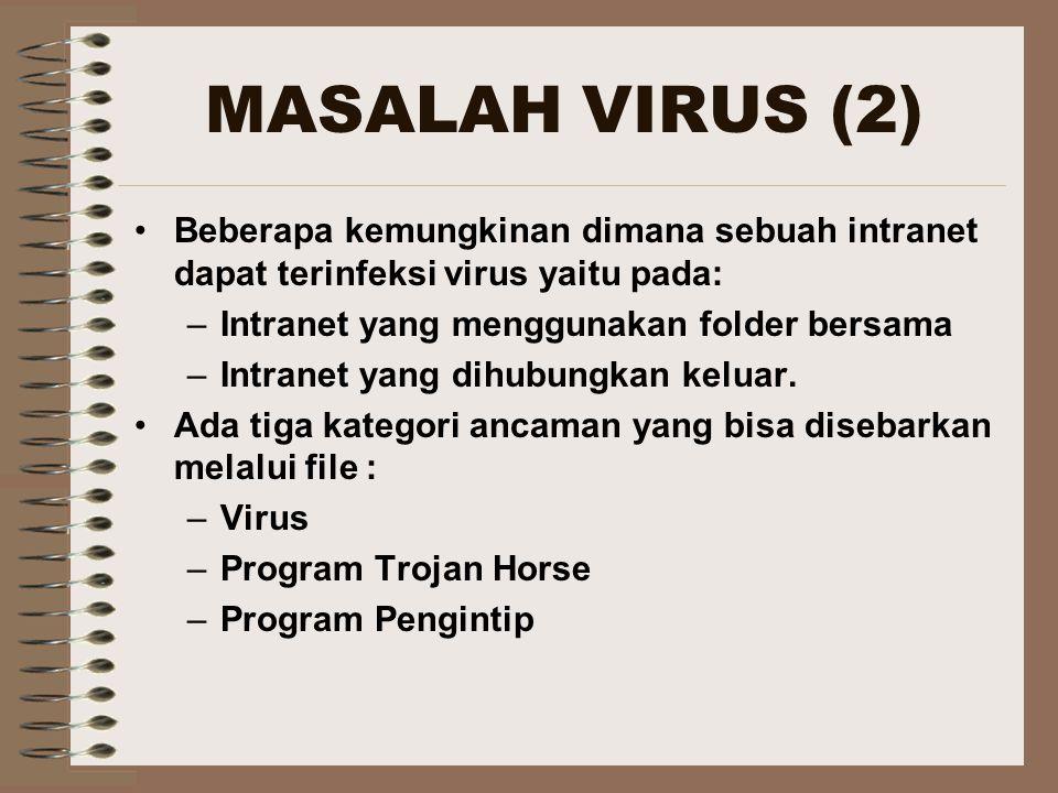 MASALAH VIRUS (2) Beberapa kemungkinan dimana sebuah intranet dapat terinfeksi virus yaitu pada: Intranet yang menggunakan folder bersama.