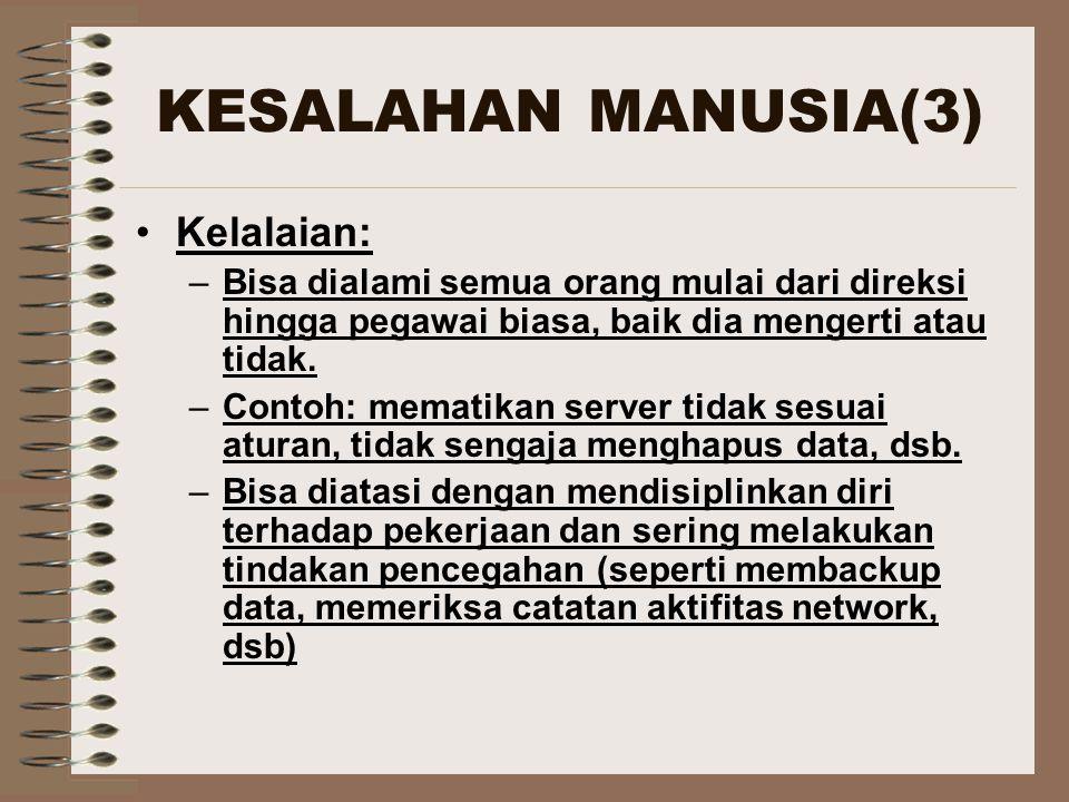 KESALAHAN MANUSIA(3) Kelalaian: