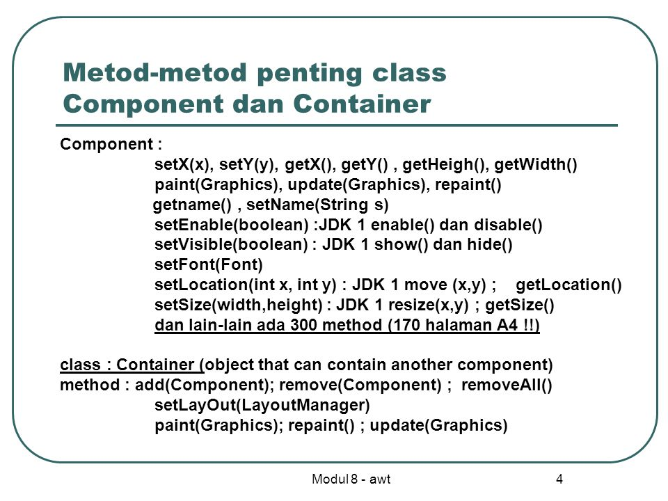 Metod-metod penting class Component dan Container