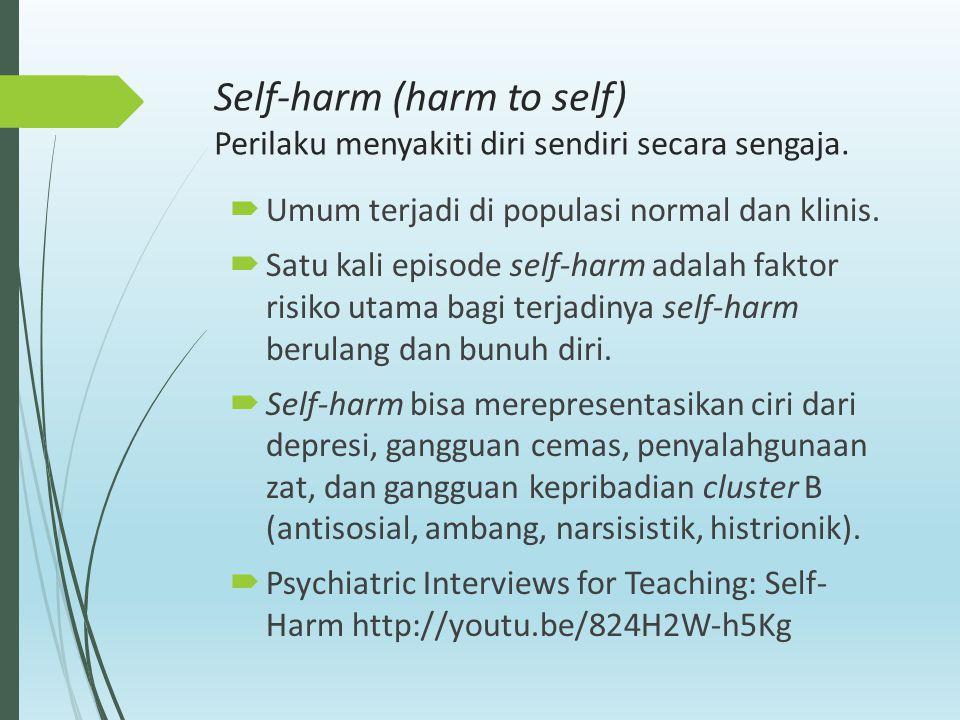Self-harm (harm to self) Perilaku menyakiti diri sendiri secara sengaja.