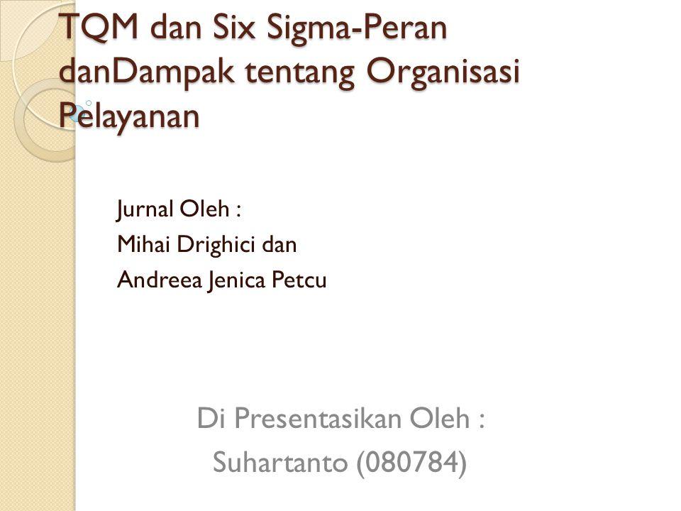 TQM dan Six Sigma-Peran danDampak tentang Organisasi Pelayanan