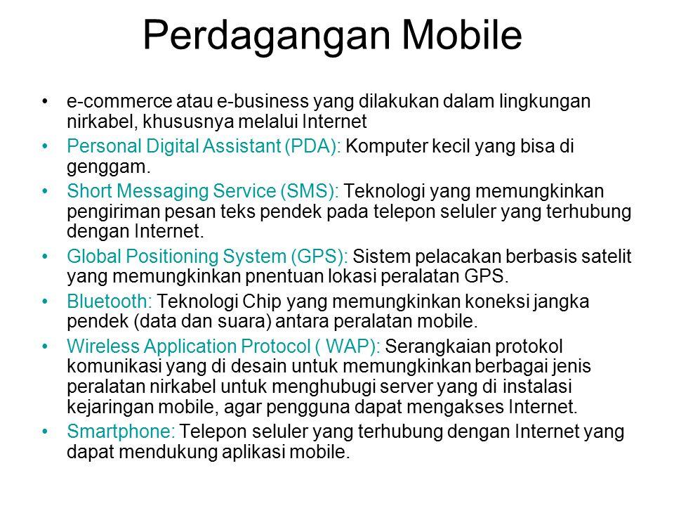 Perdagangan Mobile e-commerce atau e-business yang dilakukan dalam lingkungan nirkabel, khususnya melalui Internet.