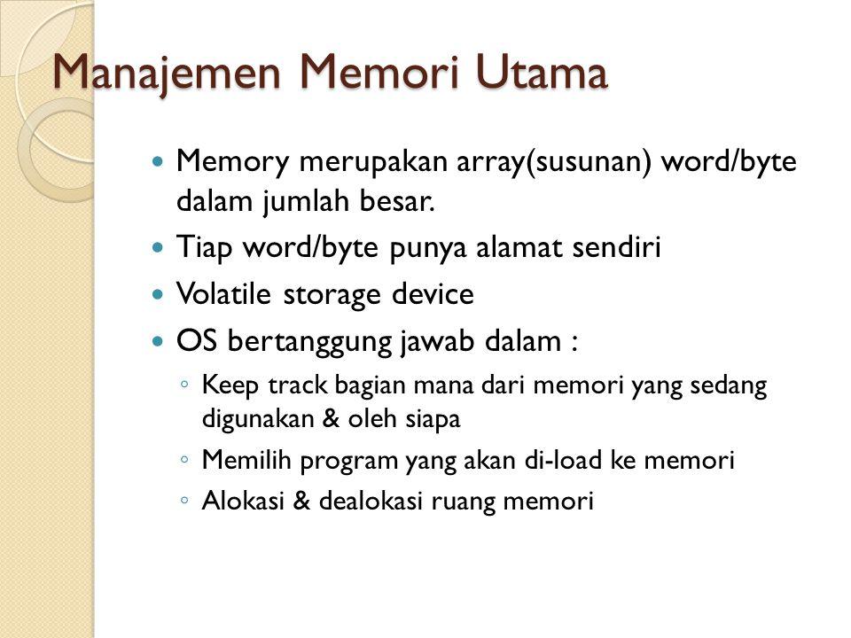 Manajemen Memori Utama