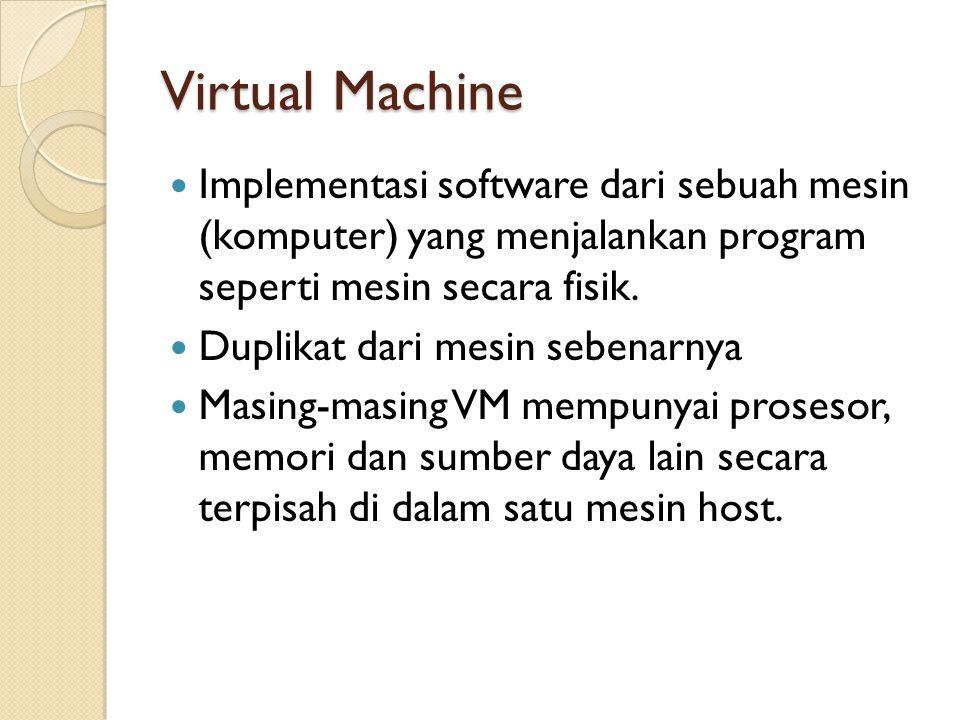 Virtual Machine Implementasi software dari sebuah mesin (komputer) yang menjalankan program seperti mesin secara fisik.