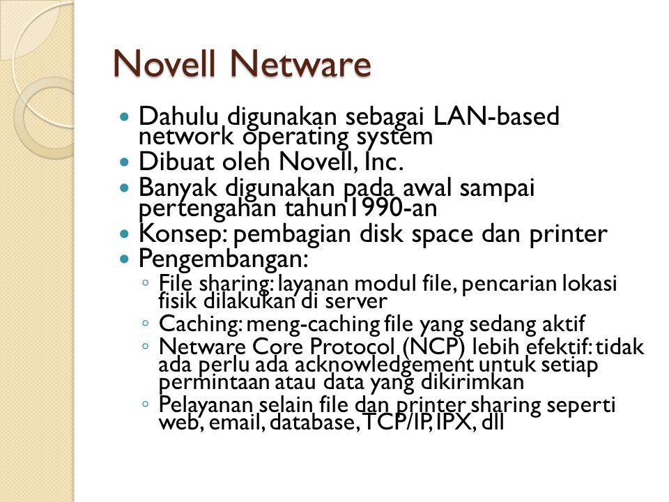 Novell Netware Dahulu digunakan sebagai LAN-based network operating system. Dibuat oleh Novell, Inc.
