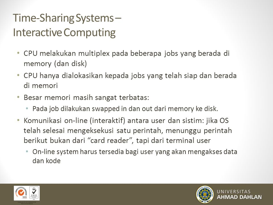 Time-Sharing Systems – Interactive Computing