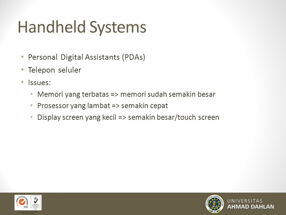 Handheld Systems Personal Digital Assistants (PDAs) Telepon seluler