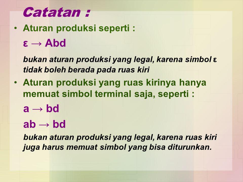 Catatan : Aturan produksi seperti : ε → Abd. bukan aturan produksi yang legal, karena simbol ε tidak boleh berada pada ruas kiri.