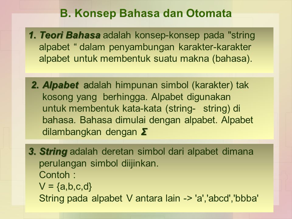 B. Konsep Bahasa dan Otomata