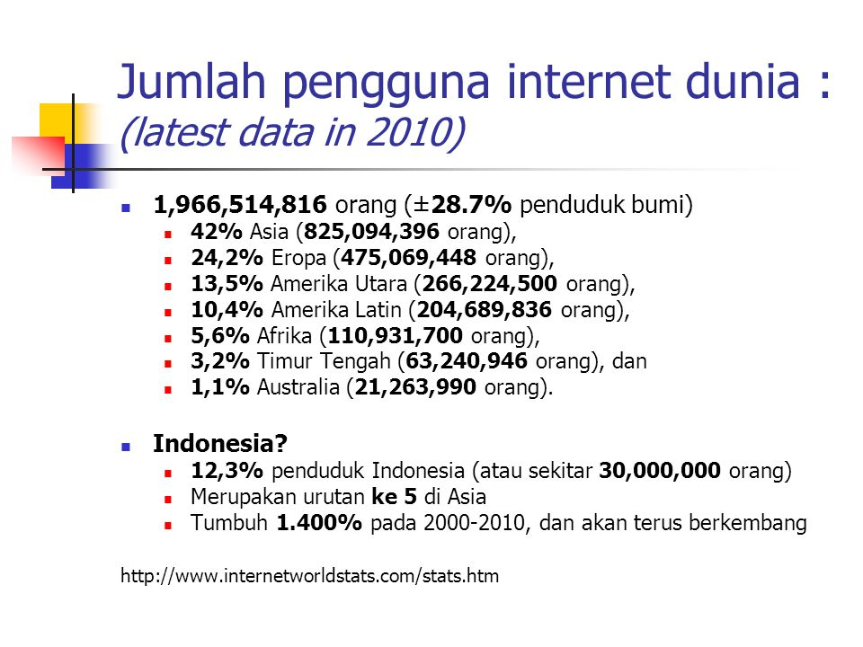 Jumlah pengguna internet dunia : (latest data in 2010)