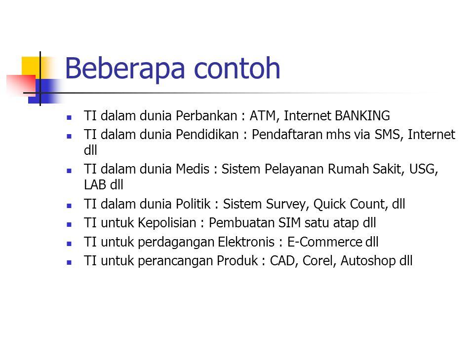 Beberapa contoh TI dalam dunia Perbankan : ATM, Internet BANKING
