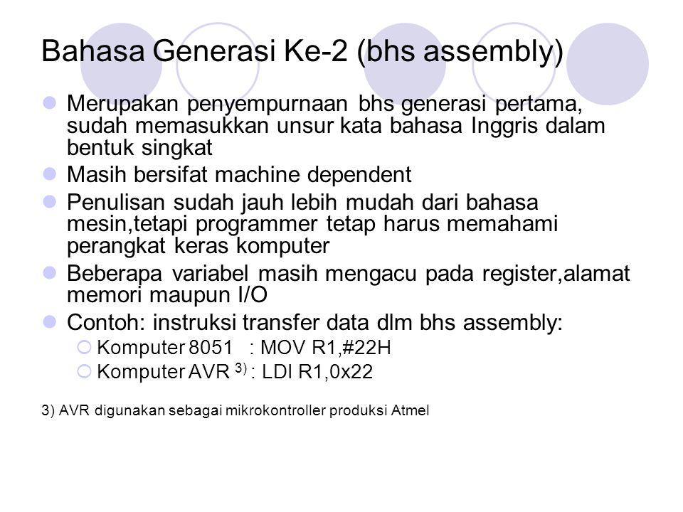 Bahasa Generasi Ke-2 (bhs assembly)