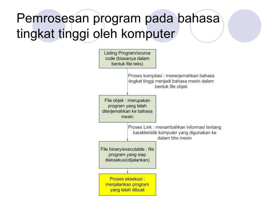 Pemrosesan program pada bahasa tingkat tinggi oleh komputer