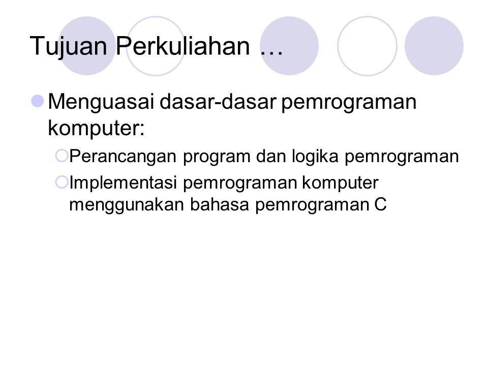 Tujuan Perkuliahan … Menguasai dasar-dasar pemrograman komputer: