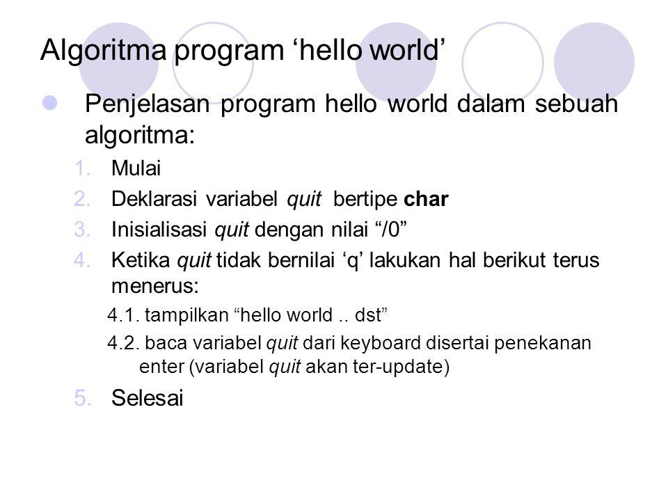 Algoritma program 'hello world'