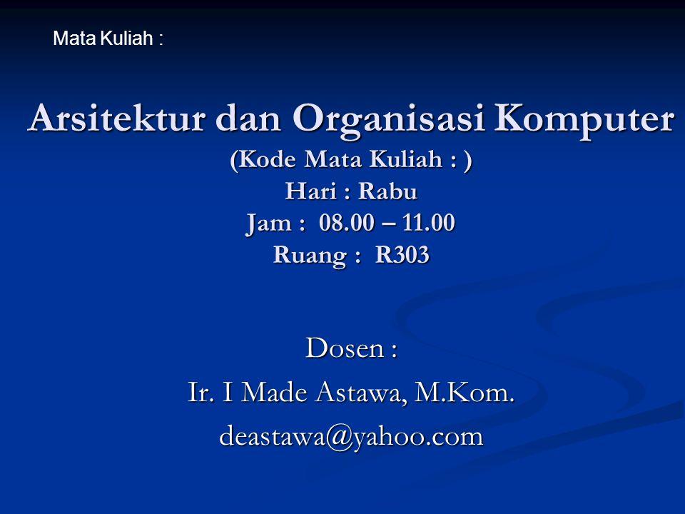 Dosen : Ir. I Made Astawa, M.Kom. deastawa@yahoo.com