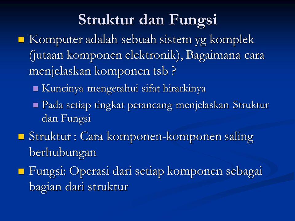 Struktur dan Fungsi Komputer adalah sebuah sistem yg komplek (jutaan komponen elektronik), Bagaimana cara menjelaskan komponen tsb