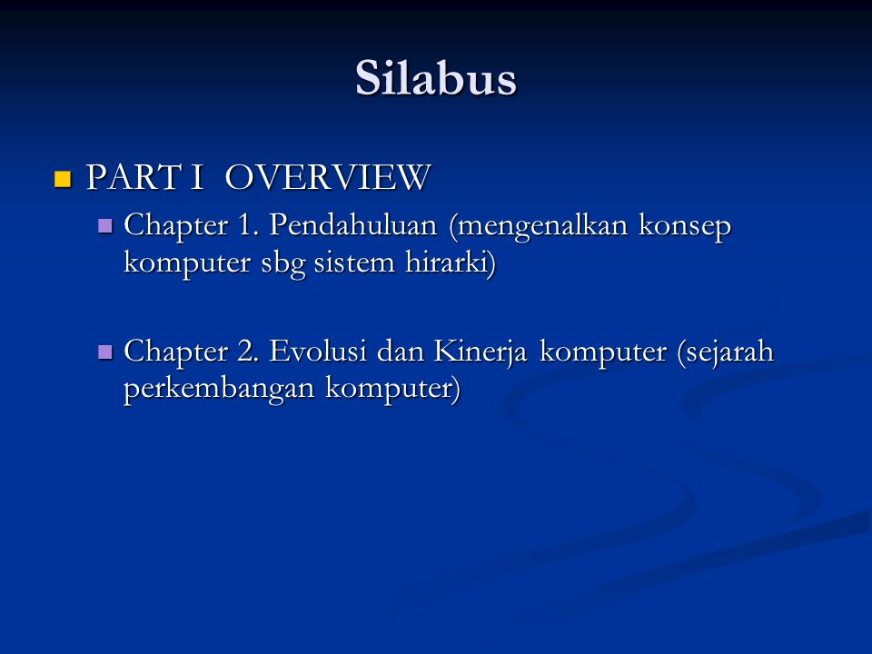 Silabus PART I OVERVIEW