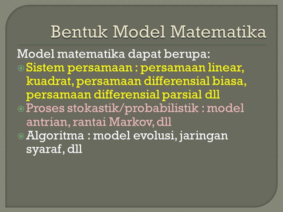 Bentuk Model Matematika