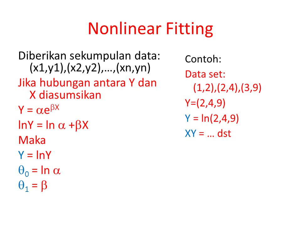 Nonlinear Fitting Diberikan sekumpulan data: (x1,y1),(x2,y2),…,(xn,yn)