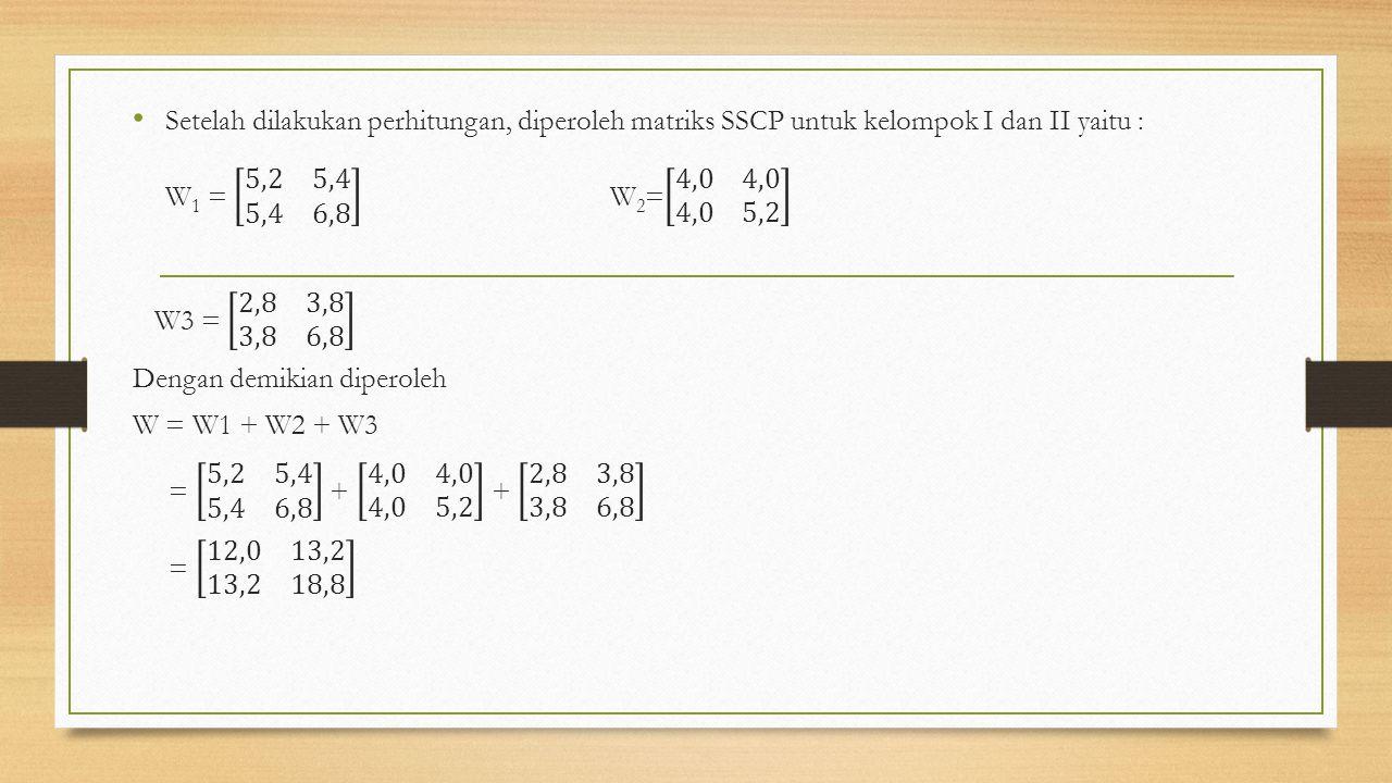 Setelah dilakukan perhitungan, diperoleh matriks SSCP untuk kelompok I dan II yaitu : W1 = 5,2 5,4 5,4 6,8 W2= 4,0 4,0 4,0 5,2