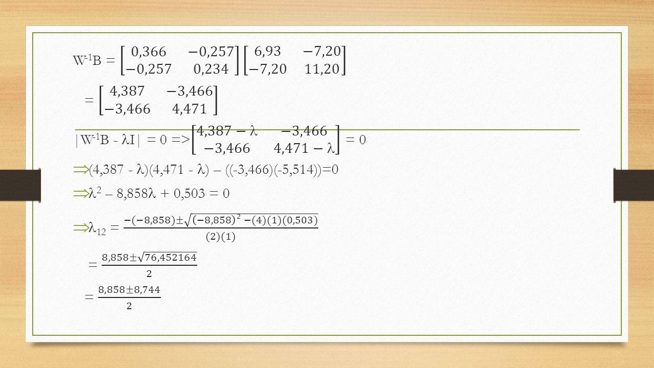 W-1B = 0,366 −0,257 −0,257 0,234 6,93 −7,20 −7,20 11,20 = 4,387 −3,466 −3,466 4,471. |W-1B - I| = 0 => 4,387− −3,466 −3,466 4,471− = 0.